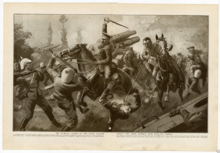 1914 WW1 Print BATTLE Charge 9th Lancers LE CATEAU Cambrai Solesmes France